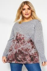 Grey & Pink Marl Floral Knitted Top
