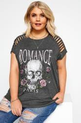 Grey 'Romance' Skull Slogan Top