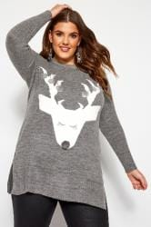 Grey Sequin Bauble Deer Christmas Jumper