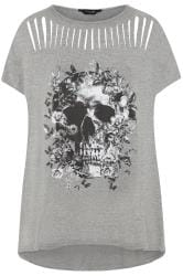 Grey Skull Print Laser Cut Top