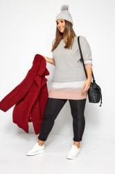 Grey Stripe Trims Knitted Jumper