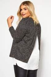 Grey Textured Double Layered Knitted Top