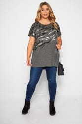 Grey Tiger Stripe Foil T-Shirt
