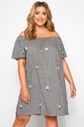 Mono Checked Embroidered Bardot Dress