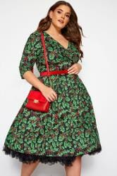 HELL BUNNY Black 'Holly Berry' Christmas Dress