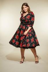HELL BUNNY Black & Red Rose Cheriyln Dress