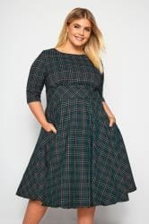HELL BUNNY Dark Green 'Peebles' Tartan Dress