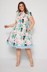 HELL BUNNY Pink Toucan Dress