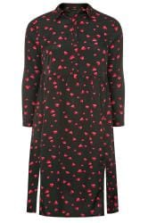 Black Heart Print Shirt Dress