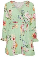 YOURS LONDON Sage Green Floral Wrap Top
