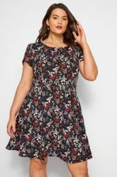 IZABEL CURVE Black Ditsy Floral Tie Waist Dress