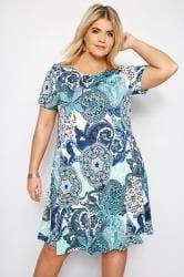 IZABEL CURVE Blue Paisley Dress