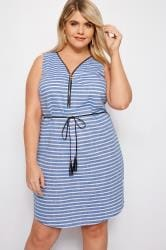 IZABEL CURVE Blue Striped Zip Front Dress