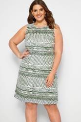 IZABEL CURVE Green Aztec Printed Shift Dress