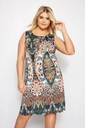 IZABEL CURVE Green Paisley Zip Back Dress