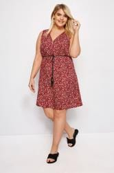 IZABEL CURVE Red Floral Zip Front Dress