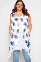 IZABEL CURVE White & Blue Floral Hanky Hem Top