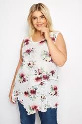 IZABEL CURVE White & Multi Floral Layered Top