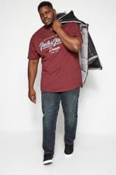 JACK & JONES Burgundy Logo T-Shirt