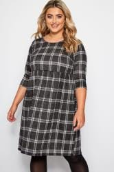 Black & Grey Jacquard Check Smock Dress