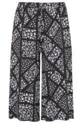 Black Ditsy Floral Patchwork Culottes
