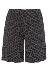 Black Aztec Print Jersey Shorts