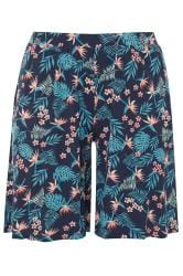 Navy Tropical Print Jersey Shorts