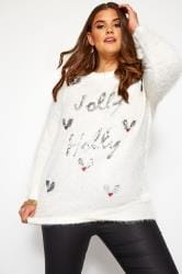 White Sequin 'Jolly Holly' Christmas Jumper
