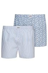 JOCKEY 2 PACK White & Blue Woven Paisley & Striped Boxers