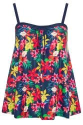 Navy Tropical Print Tankini Top