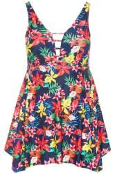 Navy Tropical Print Swim Dress