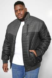 KAM Black Contrast Padded Puffer Jacket