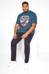 KAM Navy Motorcycle Graphic Printed T-Shirt