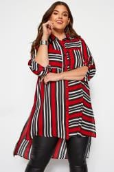 KOKO Red & Black Striped Chiffon Shirt