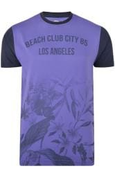 KAM Purple Beach Floral T-Shirt