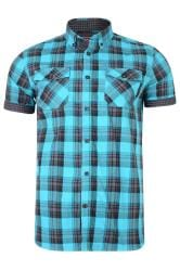 KAM Teal Blue Retro Check Shirt