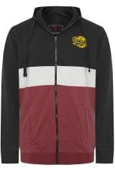 KAM Black & Burgundy Colour Block Zip Through Hoodie