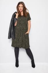 Khaki Animal Print Drape Pocket Dress
