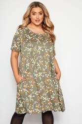 Khaki Floral Pocket Swing Dress