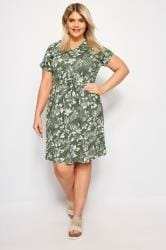 Khaki Floral T-Shirt Dress