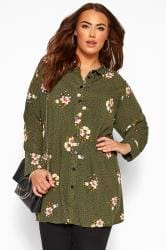 Khaki Green Floral Spotted Shirt