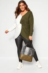 Khaki Green & White Twist Front Jumper