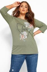 Khaki Marl Heart 'Love' Slogan Top