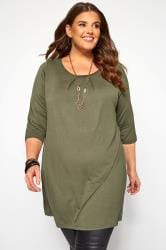 Khaki Pleat Neck Top
