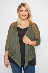 Khaki Popcorn Cropped Shrug