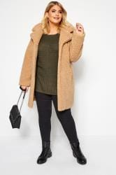 Khaki Ribbed Knitted Jumper