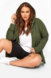 Khaki Ribbed Trim Zip Through Hoodie