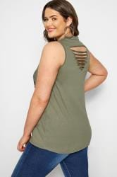 Khaki Ripped Slogan Vest Top