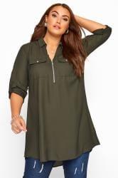 Khaki Shirt With Zip Front