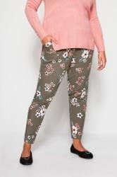 Spodnie khaki z wzorem tropikalnym